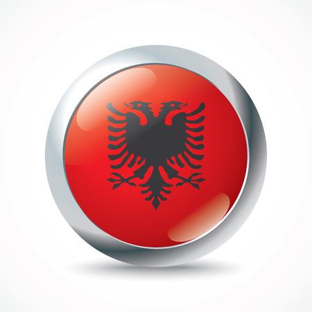albania: Albania flag button - vector illustration