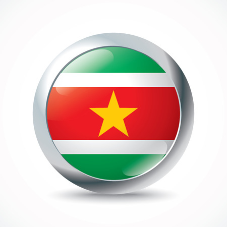 suriname: Suriname flag button - vector illustration