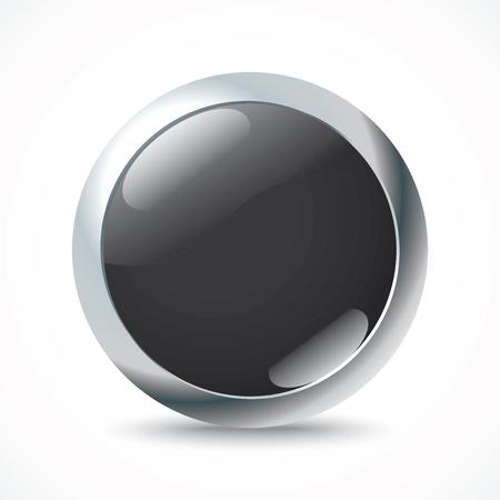Black button - vector illustration