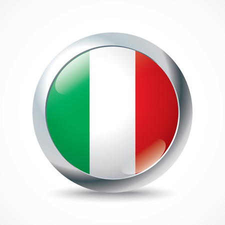 cantons: Italy flag button - vector illustration Illustration