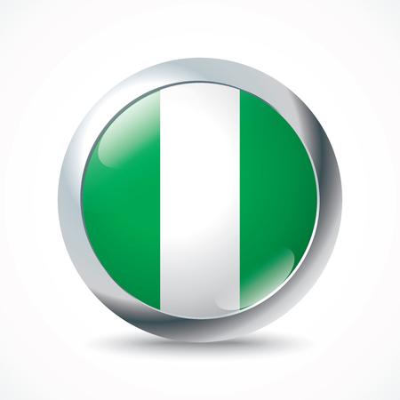 flag button: Nigeria flag button - vector illustration