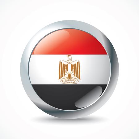 bandera egipto: Bot�n de bandera de Egipto - ilustraci�n vectorial