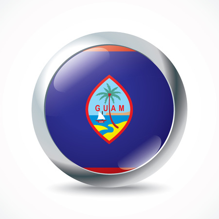 guam: Guam flag button - vector illustration