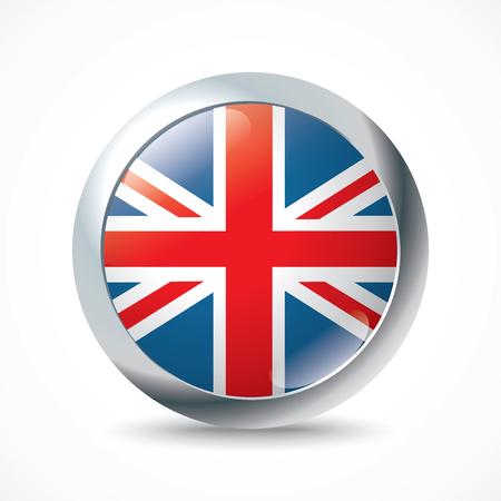 bandera uk: Reino Unido botón de la bandera - ilustración vectorial