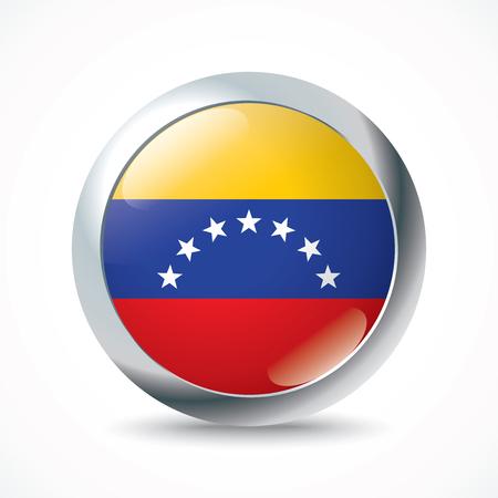 bandera de venezuela: Botón de bandera de Venezuela - ilustración vectorial Vectores