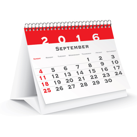 calendario da tavolo: September 2016 desk calendar - vector illustration Vettoriali