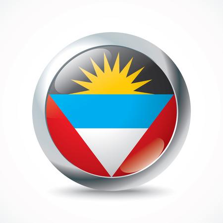 barbuda: Antigua and Barbuda flag button - vector illustration