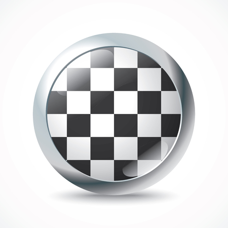 racing checkered flag crossed: Checkered Race flag button - vector illustration Illustration