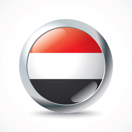 flag button: Yemen flag button - vector illustration