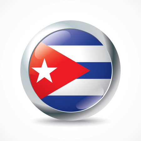 havana cuba: Cuba flag button - vector illustration Illustration