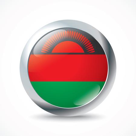 flag button: Malawi flag button - vector illustration