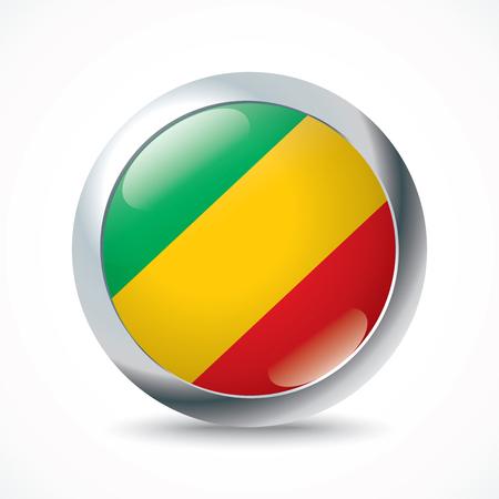 Congo: Republic of Congo flag button - vector illustration Illustration