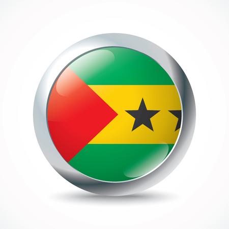 principe: Santo Tomé y Príncipe botón de la bandera - ilustración vectorial