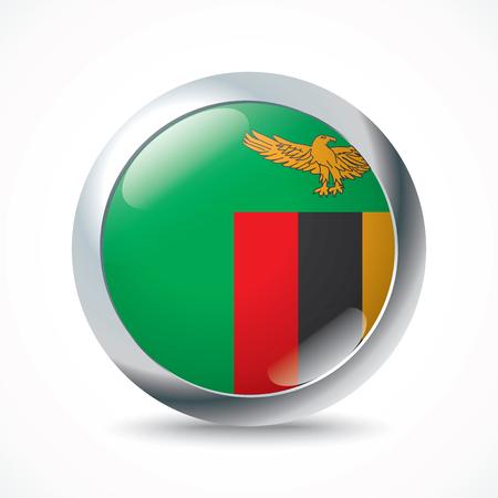 zambia: Zambia flag button - vector illustration