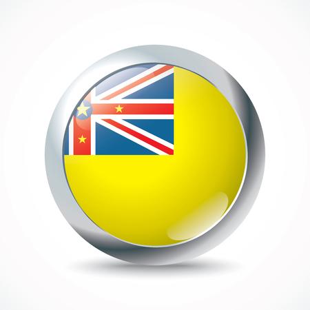 niue: Niue flag button - vector illustration
