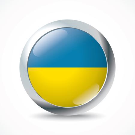 ukraine flag: Ukraine flag button - vector illustration Illustration