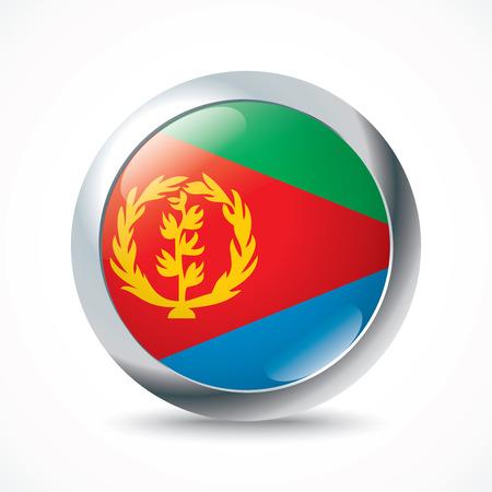 eritrea: Eritrea flag button - vector illustration