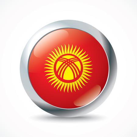 kyrgyzstan: Kyrgyzstan flag button - vector illustration