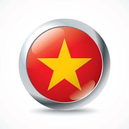 indochina peninsula: Vietnam flag button - vector illustration