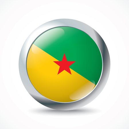 guiana: French Guiana flag button - vector illustration Illustration