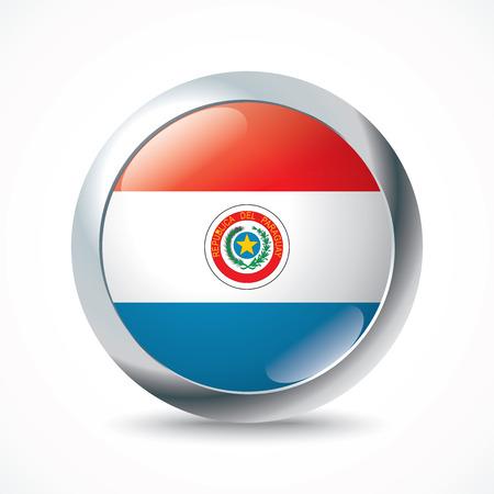 bandera de paraguay: Botón de bandera Paraguay - ilustración vectorial