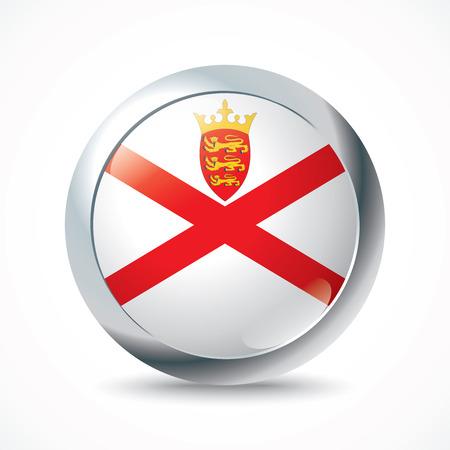 flag button: Jersey flag button - vector illustration Illustration