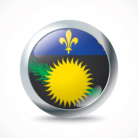 guadeloupe: Guadeloupe flag button - vector illustration