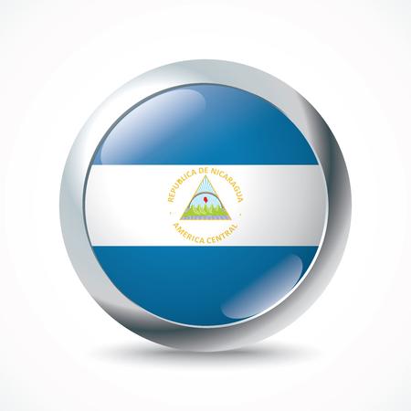 flag button: Nicaragua flag button - vector illustration