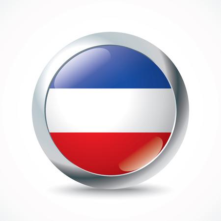 serbia and montenegro: Serbia and Montenegro flag button - vector illustration