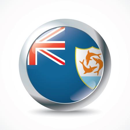 anguilla: Anguilla flag button - vector illustration Illustration