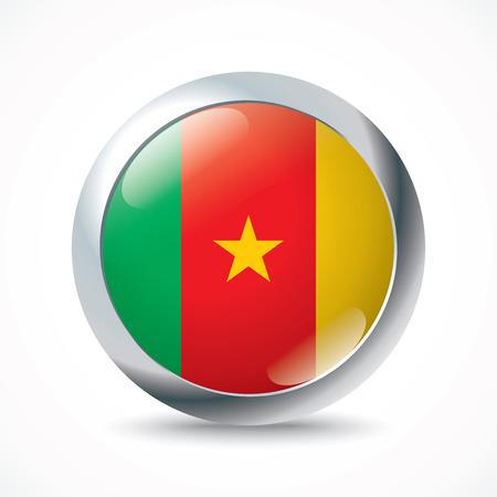 white flag: Cameroon flag button - vector illustration