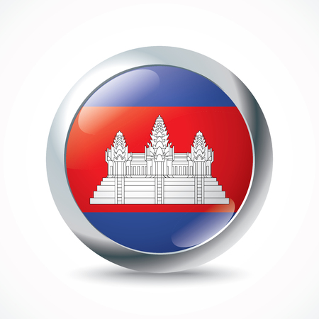 cambodian flag: Cambodia flag button - vector illustration