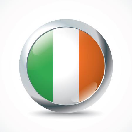 ireland flag: Ireland flag button - vector illustration