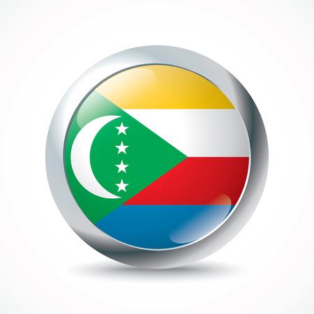 comoros: Comoros flag button - vector illustration Illustration