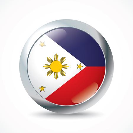 philippines: Philippines flag button - vector illustration