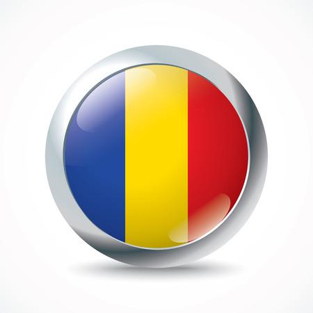 romania flag: Romania flag button - vector illustration Illustration