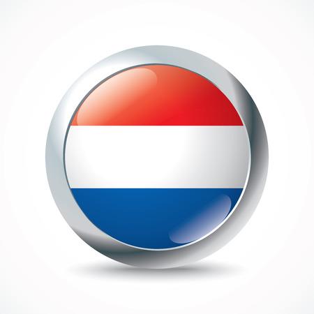 netherlands flag: Netherlands flag button - vector illustration