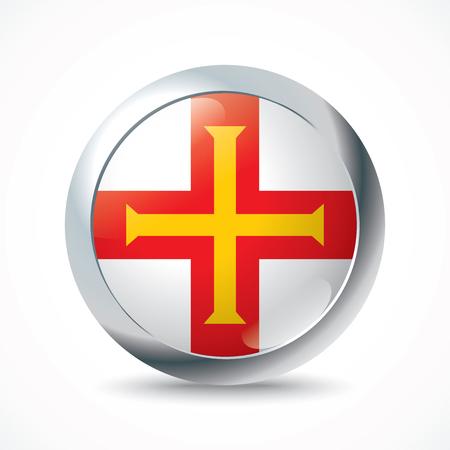 guernsey: Guernsey flag button - vector illustration