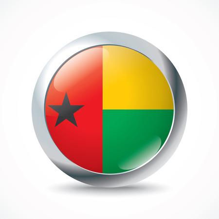 bissau: Guinea-Bissau flag button - vector illustration