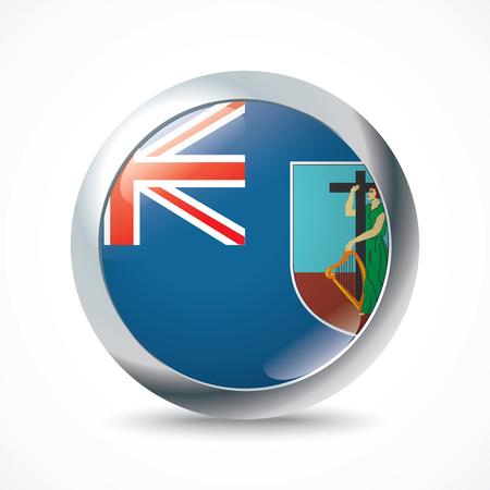 montserrat: Montserrat flag button - vector illustration