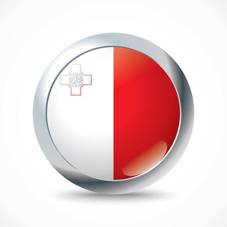 malta: Malta flag button - vector illustration