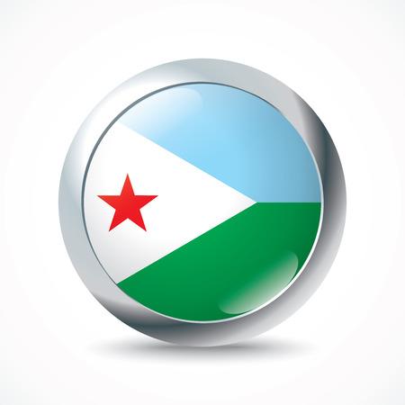 djibouti: Djibouti flag button - vector illustration