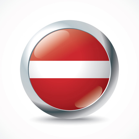 latvia flag: Latvia flag button - vector illustration Illustration