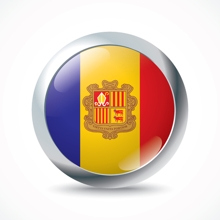 andorra: Andorra flag button - vector illustration