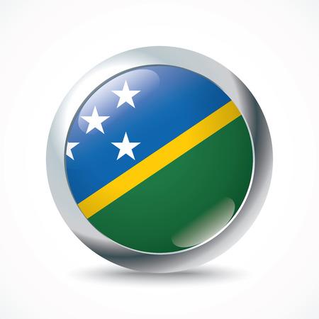 solomon: Solomon Islands flag button - vector illustration Illustration