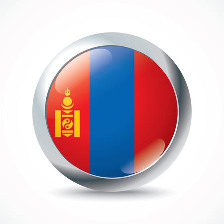 mongolia: Mongolia flag button - vector illustration