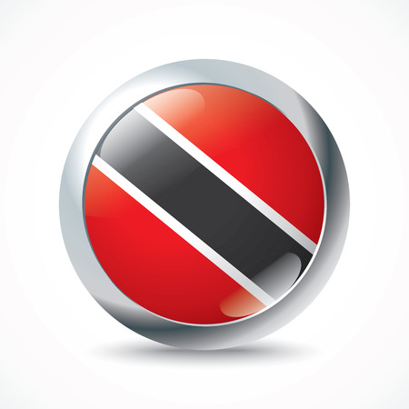 trinidadian: Trinidad and Tobago flag button - vector illustration Illustration