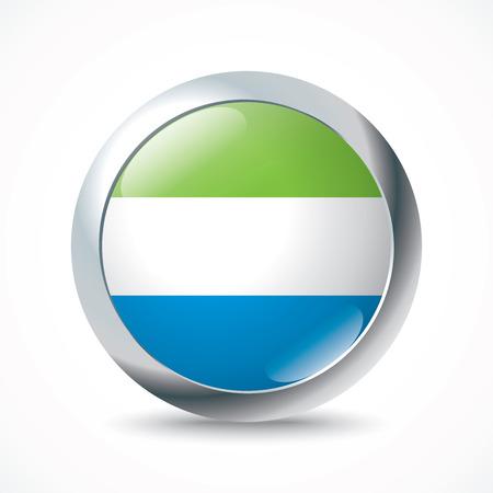 sierra: Sierra Leone flag button - vector illustration Illustration