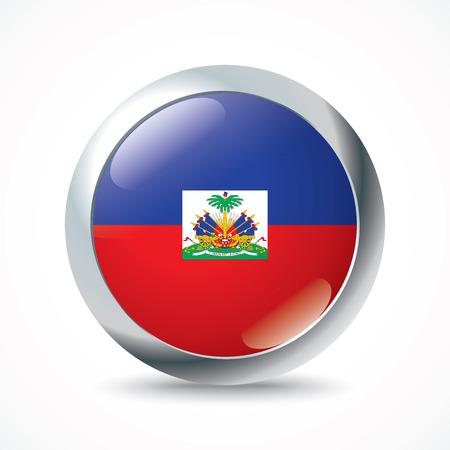 haiti: Haiti flag button - vector illustration