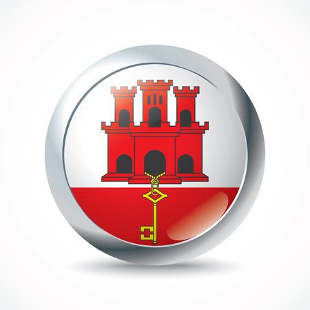 gibraltar: Gibraltar flag button - vector illustration Illustration